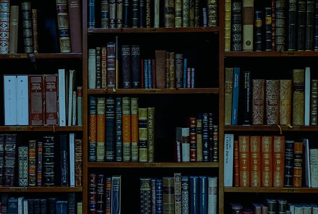 Organized bookshelves in a library.