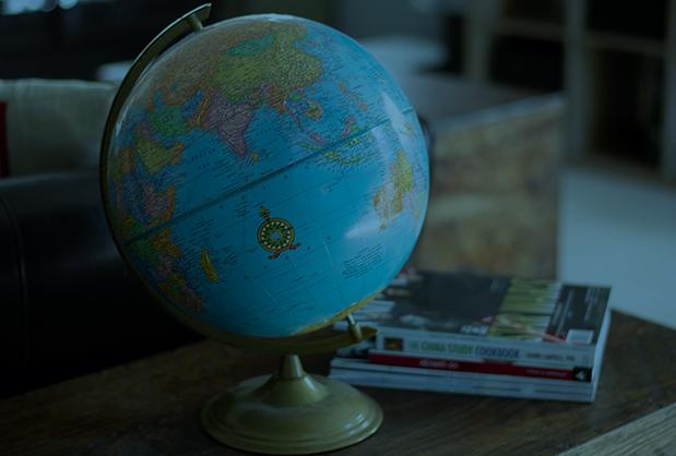 Globe on a Sofa Table