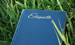 German Etiquette Phrases section image. Photo of Etiquette book.