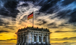 History of German Language section image. Photo of German flag.