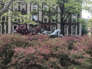 Visiting Scholar in New York Image. Statue of the Greek Pan on the Columbia University Campus.