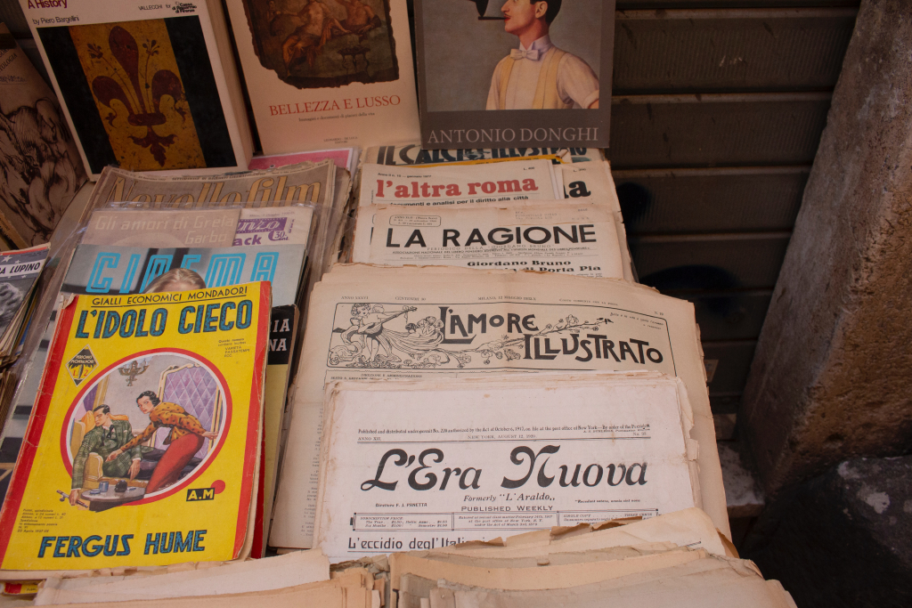 Italian Dialects Section Image. Photo of vintage Italian magazines.
