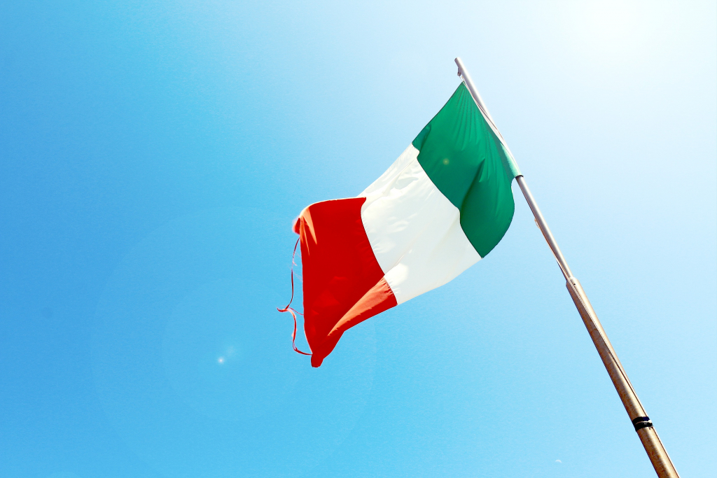 Basic Italian Phrases Section Image. Photo of Italian flag.