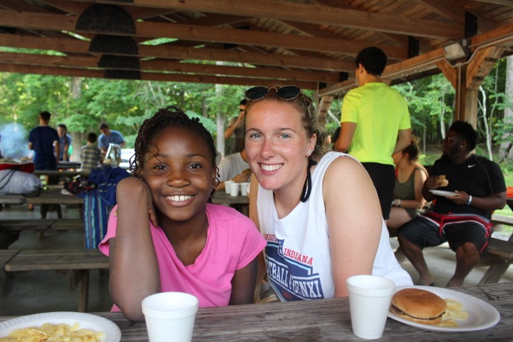 Iovino Foundation Camper and Counselor having lunch