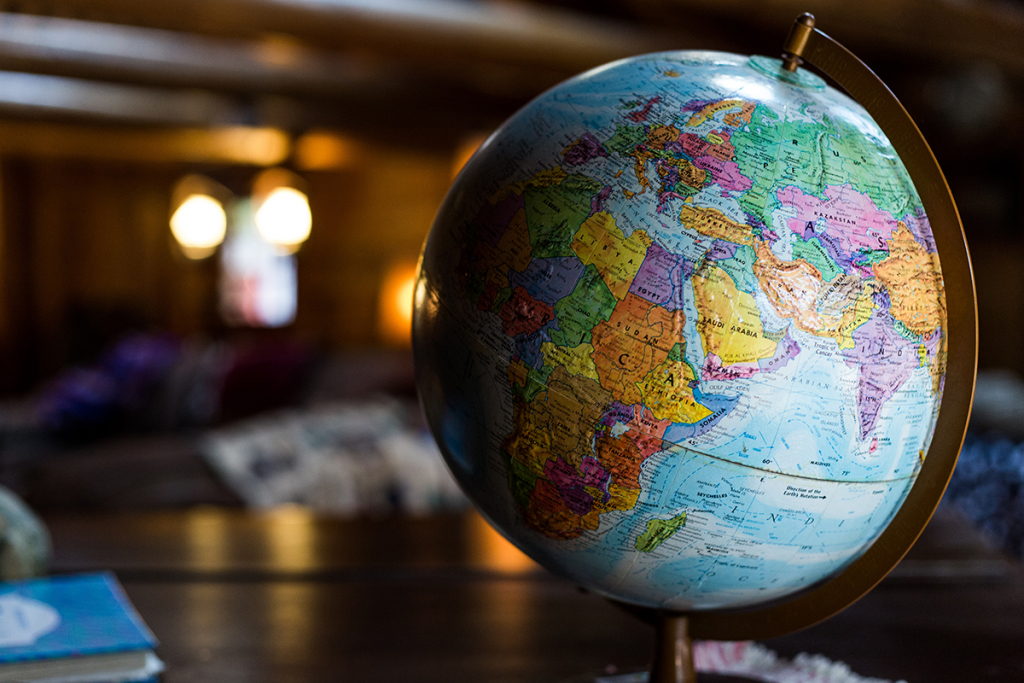 Photo of a globe of the world, showing sabbatical travel possibilities.