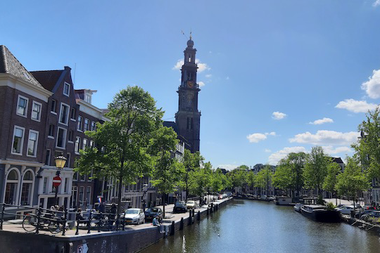 Image of a nearly empty canal in Amsterdam during COVID-19 Lockdown.