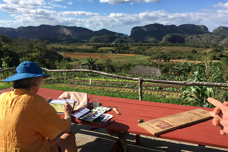 Picture of a man painting the countryside as part of Cuba Art Tours with Laura Quincy Jones.