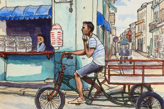 Image of a painting by Laura Quincy Jones of a man riding a bike in front of a shop in Havana, Cuba.