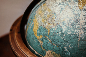 Picture of a globe of the world.