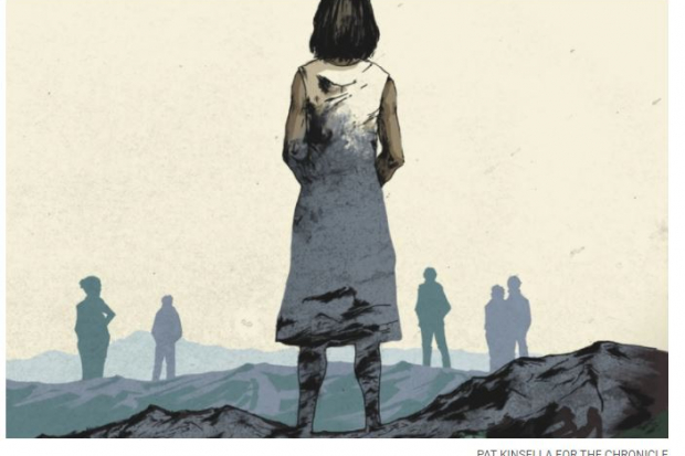 Image of a woman looking into a desolate landscape with the silhouette of other people looking the same direction. Credit: Pat Kinsella for The Chronicle of Higher Education.