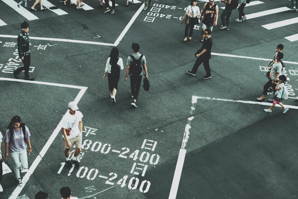 Crosswalk in Taipei, Taiwan.