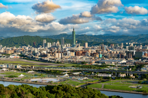 Downtown Taipei, Taiwan and surrounding mountains