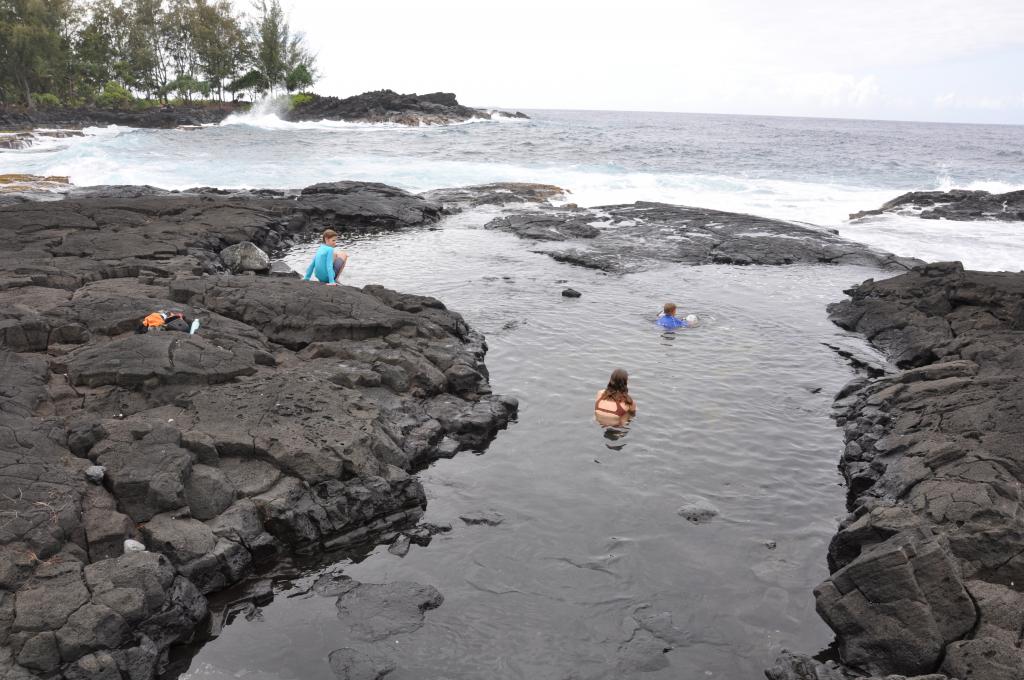 Enjoying the tide pools and the beach near Hawaiian Paradise Park on the big island of Hawaii