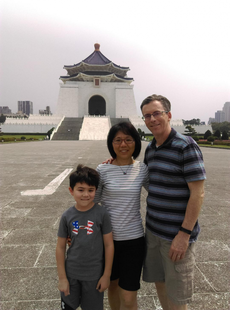 The Dolan family in front of Chiang Kai-shek Memorial Hall in Taiwan.