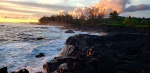 The cliffs and waves breaking at Maku'u Point, Hawaii.