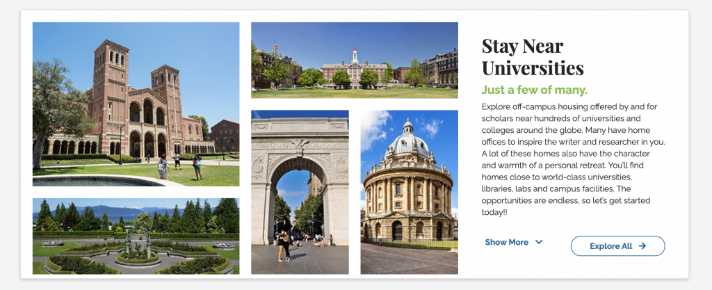 Images of Universities to Stay Near when looking for housing on the new SabbaticalHomes website.