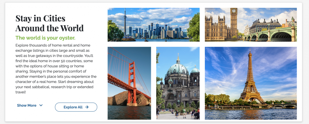 Images of Cities to Stay In when looking for housing on the new SabbaticalHomes website.
