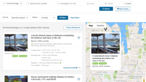 Home Exchange Search Results on SabbaticalHomes Sydney and Los Angeles