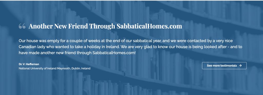SabbaticalHomes Testimonial on Home page