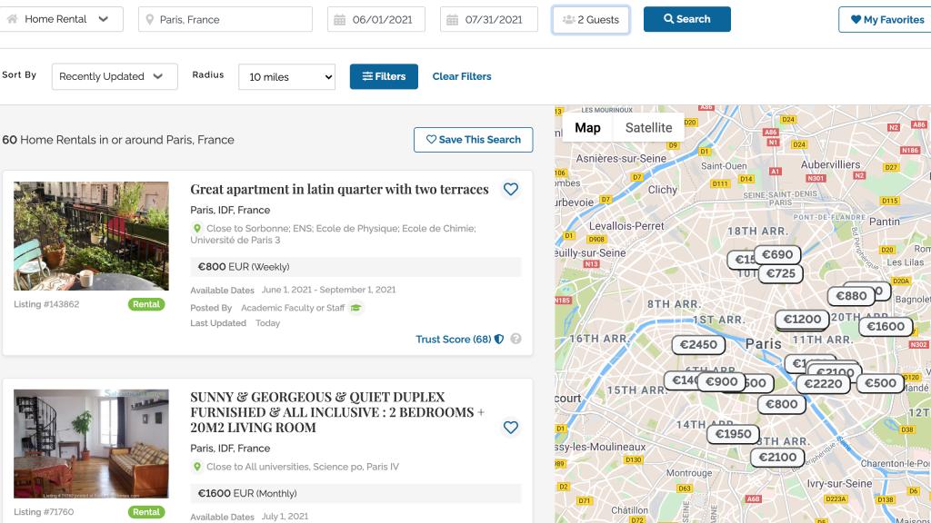 SabbaticalHomes Paris Summer 2021 Search Results