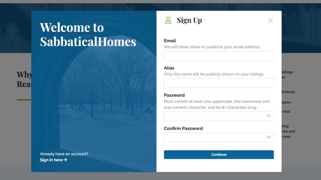 Welcome to SabbaticalHomes Registration
