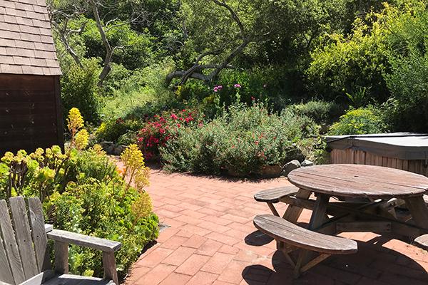 Big Sur Retreat Backyard with Picnic table