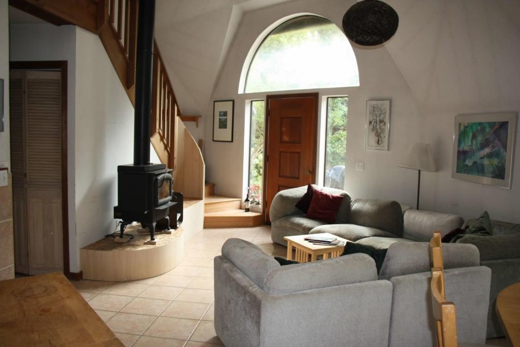 Big Sur Retreat front door and living room