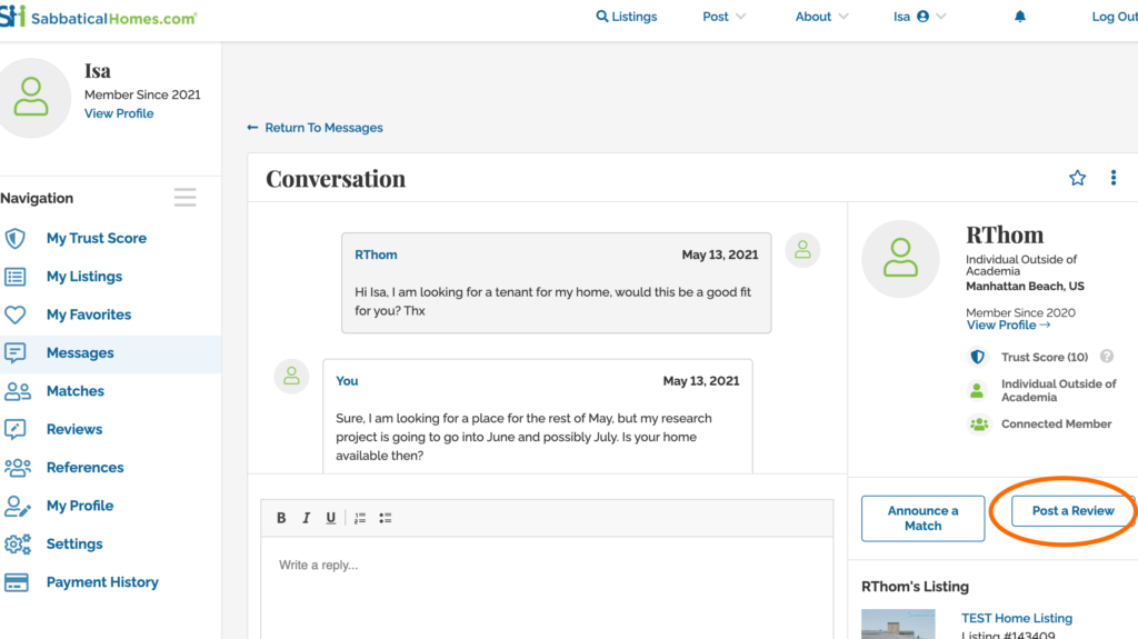 SabbaticalHomes Messages Dashboard to Post a Review