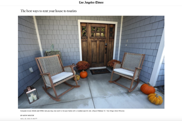 LA Times article by SideHusl with a welcoming image of porch with two rocking chairs and pumpkins.